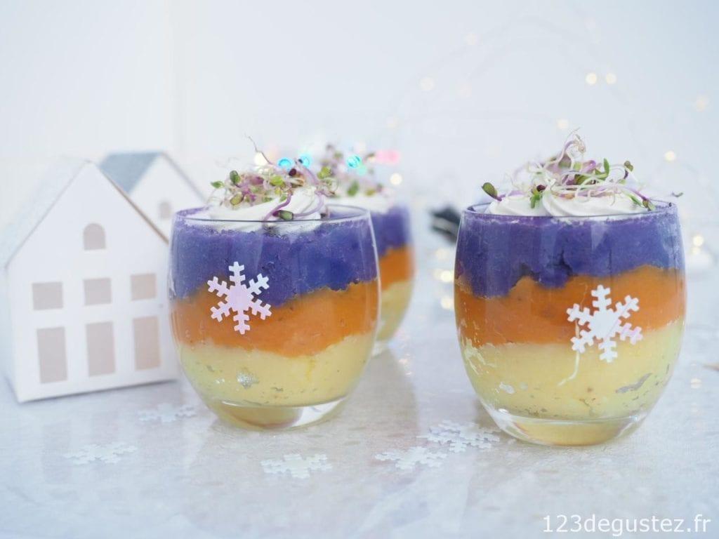 verrines tricolores à la pomme de terre