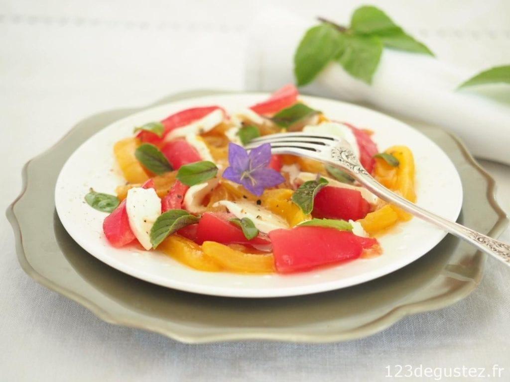 salade de poivrons jaunes marinés
