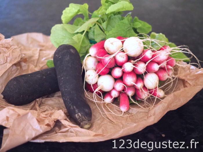 carpaccio radis noir et rose