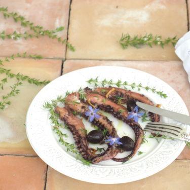 poulpe confit à l'huile d'olive