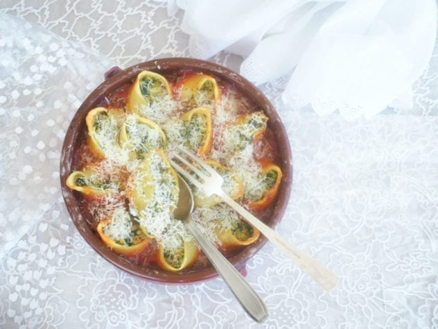 conchiglioni farcis courgette menthe