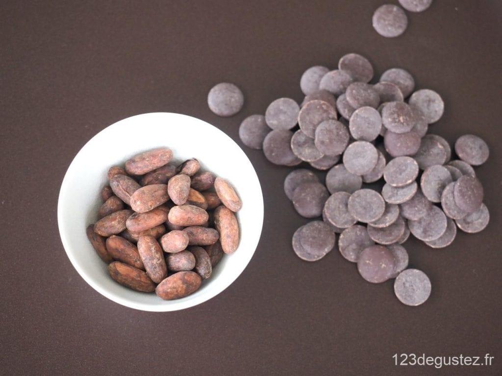fèves de cacao au chocolat